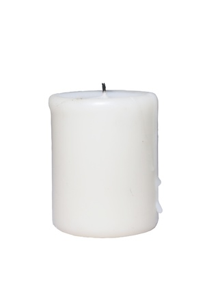 Isolated of white candle without flame with white background photo