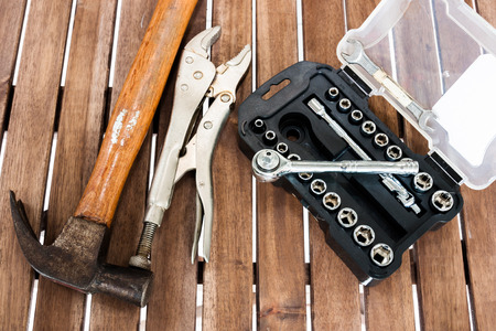 torque wrench: Image of some technician equipment on the wood slat Stock Photo