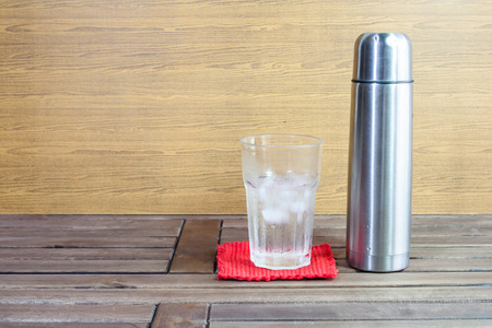tumbler: Image of water ice and tumbler on the table Stock Photo