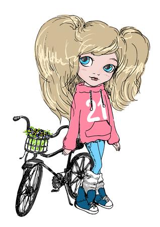 niños en bicicleta: Niña linda en un color de rosa con capucha y pantalones vaqueros azules, con una bicicleta. La vida activa, deportes para niños, ilustración. Vectores