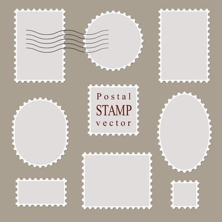 different shapes: Postal vector stamps, old style. Different shapes. Vector border brush.