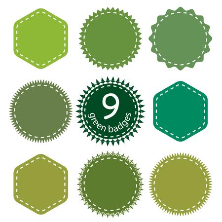 sellos: Ajuste del verde Placas, logotipo, sello. Nueve formas y tonos de verde diferentes.