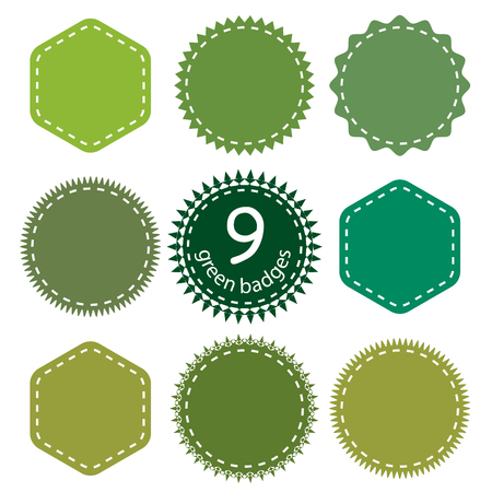 Set of the Green Badges, Logo, Stamp. Nine different shapes and shades of green. Illustration