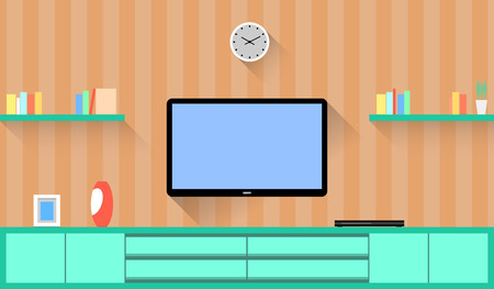 tv screen: Design around the Television in a Living room. Vector flat Illustration.