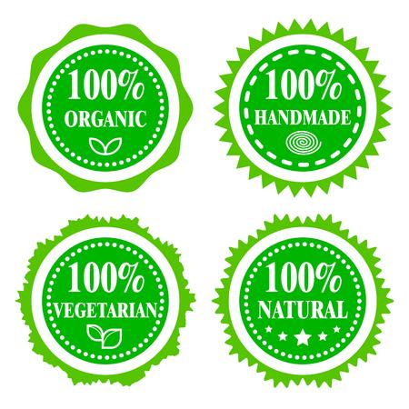 Green badges, stickers, logo, stamp. Hundred percent organic, vegetarian, natural and handmade. Modern bright flat design.  イラスト・ベクター素材