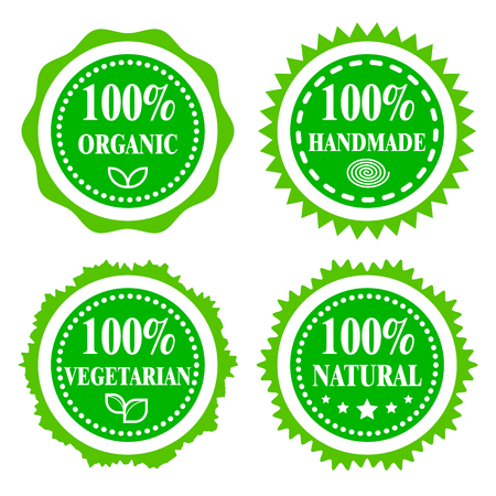 and organic: Green badges, stickers, logo, stamp. Hundred percent organic, vegetarian, natural and handmade. Modern bright flat design. Illustration