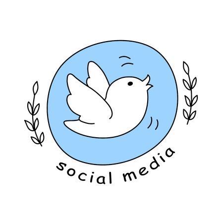 little bird: Social media icon, emblem, badge with a Little bird chirps. Illustration in Doodle style.