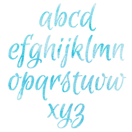 Watercolor blue Alphabet. Hand drawn artistic watercolor font
