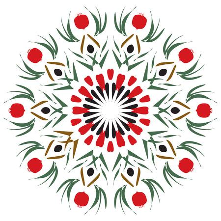batik: Pomegranate Mandala. Ornement ethnique ronde � toutes fins de d�coration Illustration