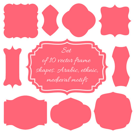 coral: Set of ten vector frames, shapes, wedding boards