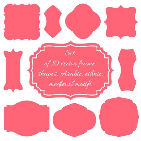 Set von zehn Vektor-Rahmen, Formen, Hochzeit Bretter