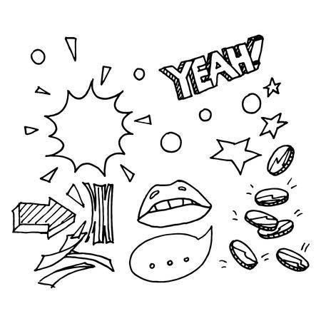 cash money: Money, cash doodle sketch. Comics in a Pop art style. Illustration