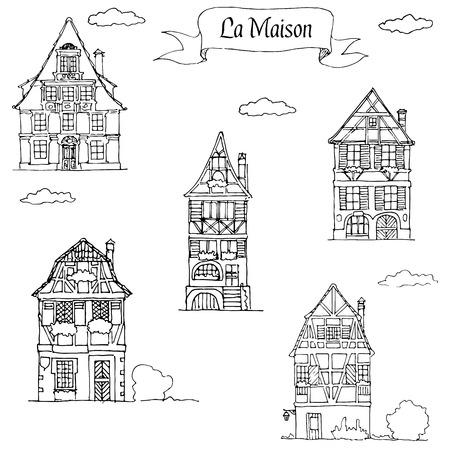 Set van Doodle schets Huis in een traditionele Europese stijl. Woonhuizen
