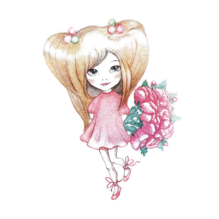manga girl: Watercolor vector Illustration of a little Girl with a Bouquet of pink flowers.