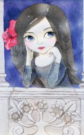 southern: Watercolor Illustration of a Girl with pink flower in her hair. Flamenco dancer, brunette girl on the balcony at deep blue night.