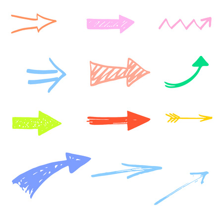 pastel backgrounds: Set of colorful Doodle Sketch arrows, pointers. Design element for Infographics