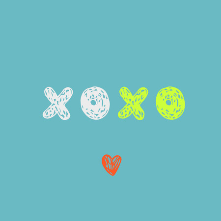 xoxo: Doodle sketch XOXO. Artistic card in pastel colors. Illustration