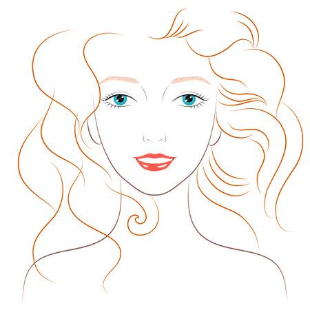 pelo ondulado: Ilustraci�n de una mujer hermosa con el pelo largo y ondulado