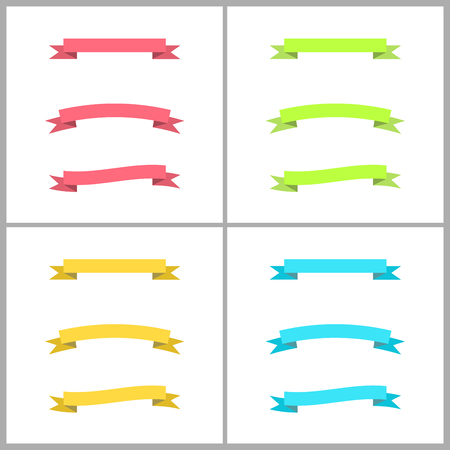 green banner: Set of colorful vector flexible ribbons, banners, streamers Illustration