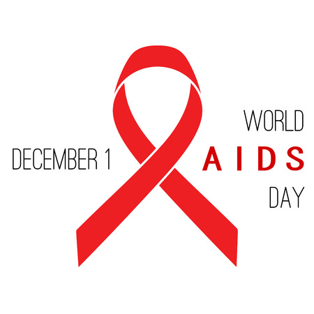 aids virus: World AIDS Day poster. Red ribbon on a white background Illustration