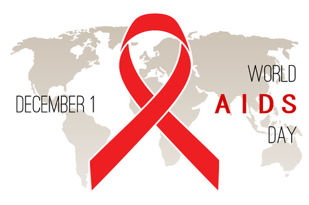 alert ribbon: World AIDS Day poster. Red ribbon on a white background Illustration
