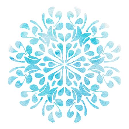 Waterverfbloem blauw Element voor ontwerp op een witte achtergrond. vector illustratie
