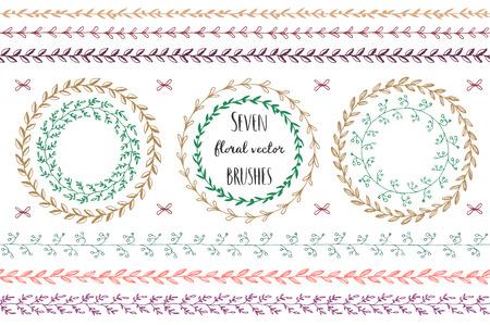 Set of hand drawn vector round floral wreaths. Ilustração