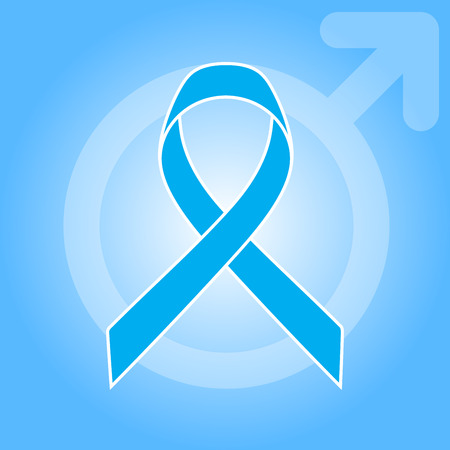 graves: Light blue ribbon as symbol of prostate cancer awareness, Graves Disease. Male Gender sign on the background