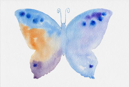 butterfly: Watercolor abstract blue butterfly design illustration. Watercolor paper texture. Stock Photo