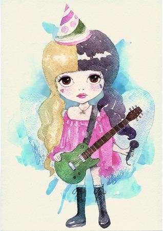 singer: Watercolor little girl singer. Original illustration. Watercolor paper texture Stock Photo