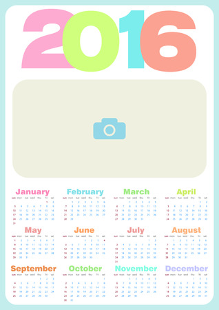 basic candy: Simple calendar 2016. Abstract calendar for 2016. Vector illustration. Calendar in pastel candy colors, with a place for photo. Calendar for Kids.