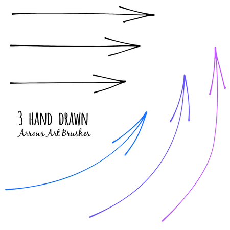curve line: Set of Doodle Sketch arrows, pointers. Three hand drawn vector brushes. Design element for Infographics