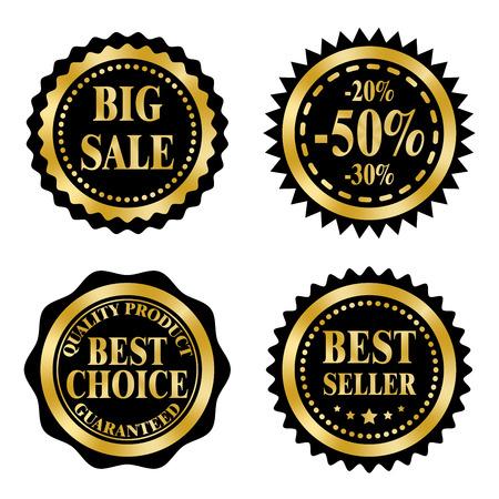 판매 배지, 스티커, 블랙 프라이데이 테마에 우표. 황금과 검은 색 디자인