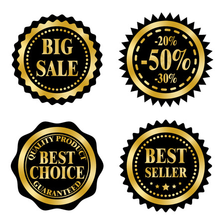 Sale badges, stickers,  stamps on a Black Friday theme. Golden and black design