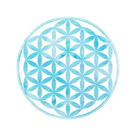 Bloem van het Leven. Heilige geometrie. Vector element met waterverf textuur