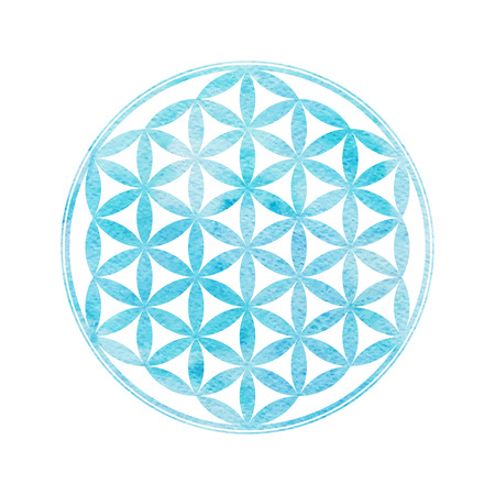 sacred heart: Flower Of Life. Sacred geometry. Vector element with watercolor texture