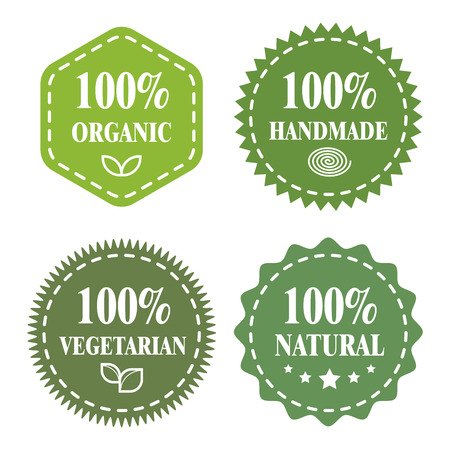 raw food: Green badges, stickers, logo, stamp. Hundred percent organic, BIO product, Fresh farm and Veggie food. Modern bright flat design.