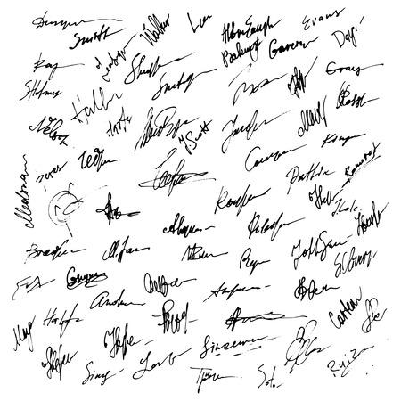 papier lettre: Signatures fix�s. R�sum� autographe d'affaires illustration. Big ensemble de signatures pour l'infographie Illustration