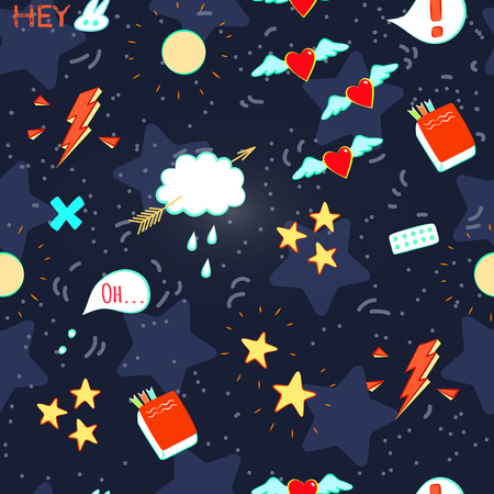 love cartoon: Doodle seamless pattern on Love theme. Colorful doodles on a deep blue background. Space, stars, Moon and speech bubbles. Illustration