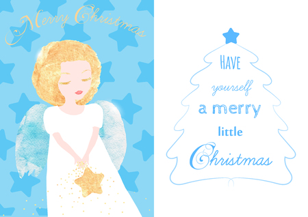 angel white: Christmas Angel greeting card. Cute little Angel with golden hair and a Star. Lettering about the Christmas. Watercolor textures, original vector illustration
