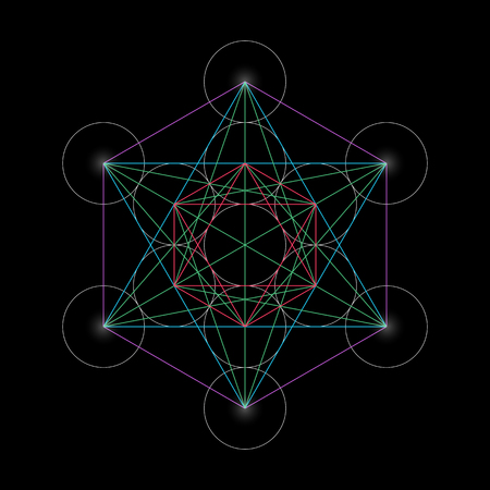 solids: Metatrons Cube. Basics of Sacred geometry, vector Illustration.