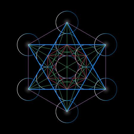 Metatrons キューブ。神聖な幾何学の基本ベクトル イラストです。
