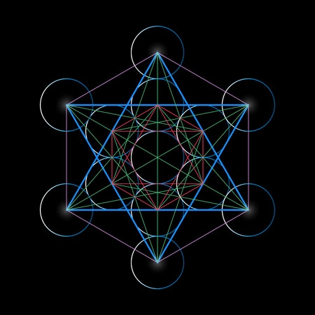 tetrahedron: Metatrons Cube. Basics of Sacred geometry, vector Illustration.