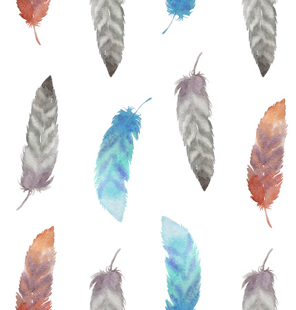 indian summer: Watercolor seamless pattern with feathers. Hand painted illustration, boho, indian summer style