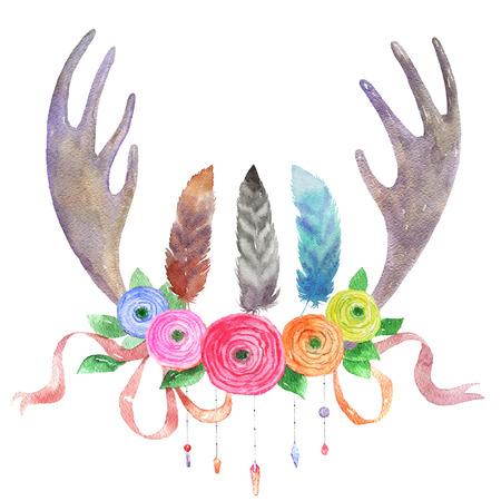 수채화 엘크 뿔, 꽃, 깃털과 리본, 흰색 배경에 고립. Boho 스타일. 손으로 그린 된 요소 디자인을위한입니다. 수채화 그림입니다. 민족 테마 디자인.
