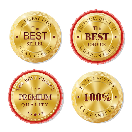 medal: Set of Realistic Round Golden Badges, Stickers, Rewards. The Best Choice, Premium Quality. Shining brilliant classic design. Illustration