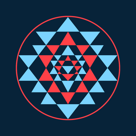sri yantra: Sacred geometry and alchemy symbol Sri Yantra, formed by nine interlocking triangles that surround and radiate out from the central point.