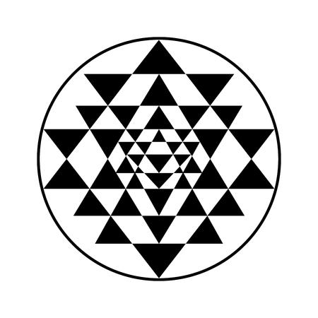 symbol: La geometria sacra e simbolo dell'alchimia Sri Yantra, formata da nove incastro triangoli che circondano e si irradiano dal punto centrale. Vettoriali