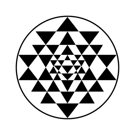 om symbol: Sacred geometry and alchemy symbol Sri Yantra, formed by nine interlocking triangles that surround and radiate out from the central point.