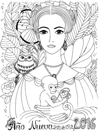 art owl: Greeting card with the text New Year 2016 and a beautiful forest fairy. Coloring book for adult. Doodle, sketch, graphic work. Young lady in a tropical forest with Owl and Monkey.